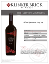 2014 Old Vine Zinfandel Sell Sheet
