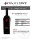 2012 Klinker Brick Marisa Vineyard Sell Sheet